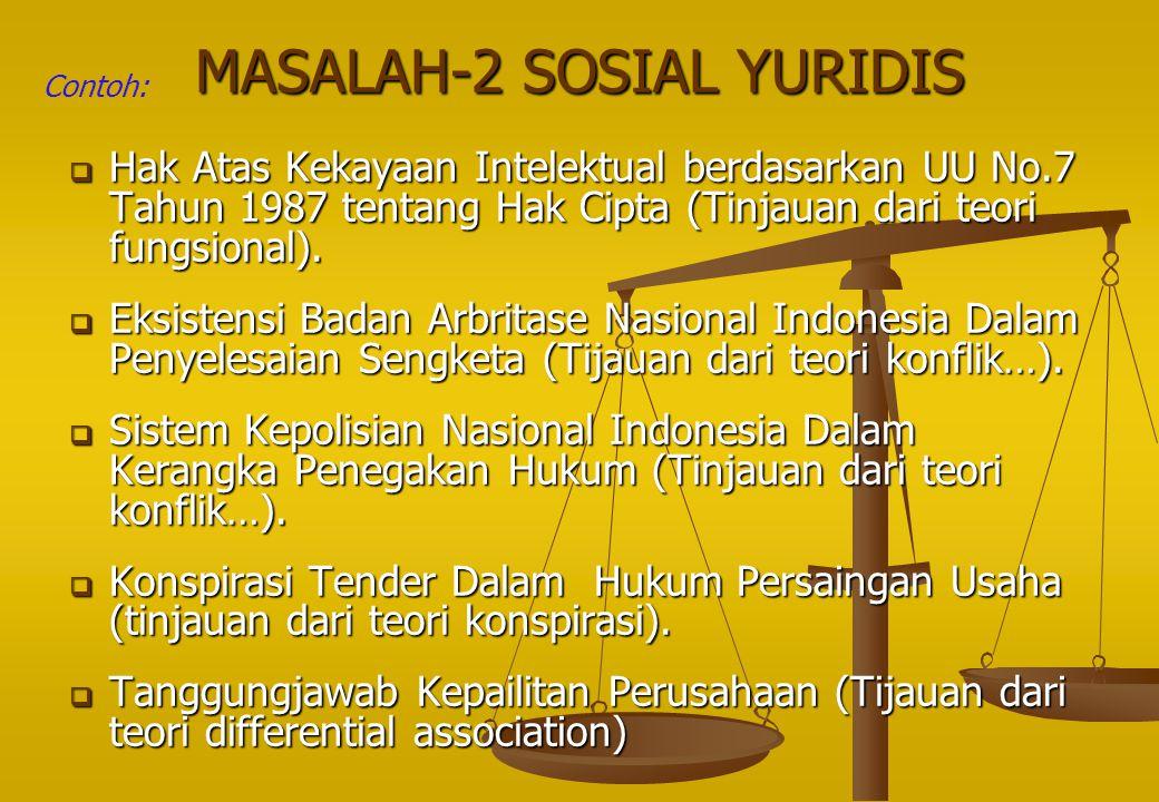 MASALAH-2 SOSIAL YURIDIS