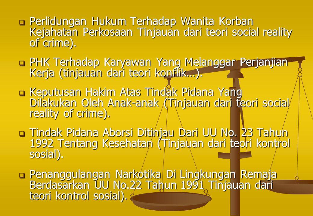 Perlidungan Hukum Terhadap Wanita Korban Kejahatan Perkosaan Tinjauan dari teori social reality of crime).