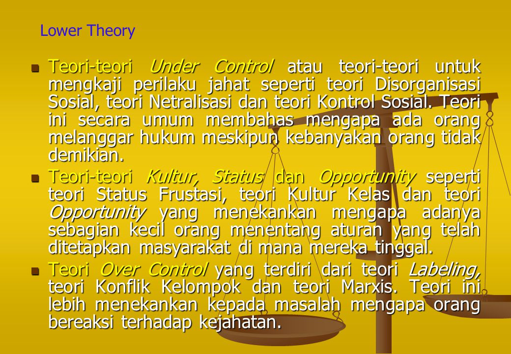 Lower Theory