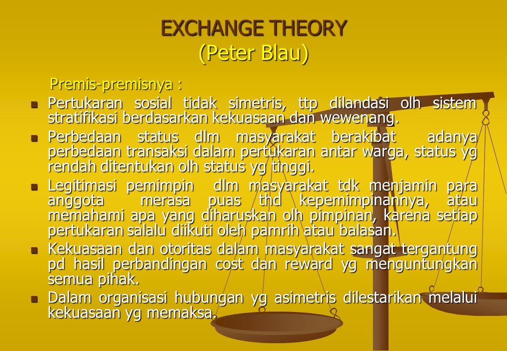 EXCHANGE THEORY (Peter Blau) Premis-premisnya :