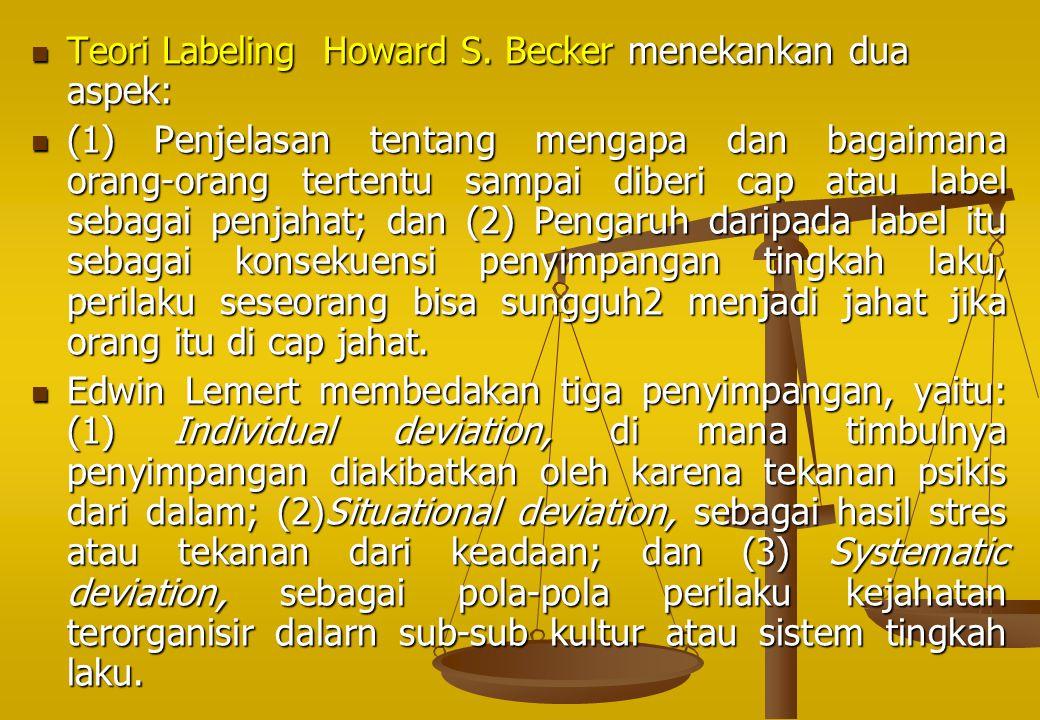 Teori Labeling Howard S. Becker menekankan dua aspek: