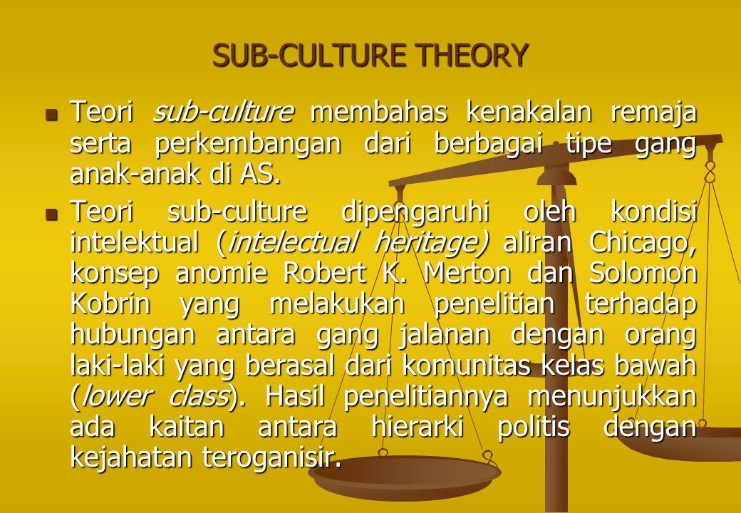 SUB-CULTURE THEORY Teori sub‑culture membahas kenakalan remaja serta perkembangan dari berbagai tipe gang anak-anak di AS.