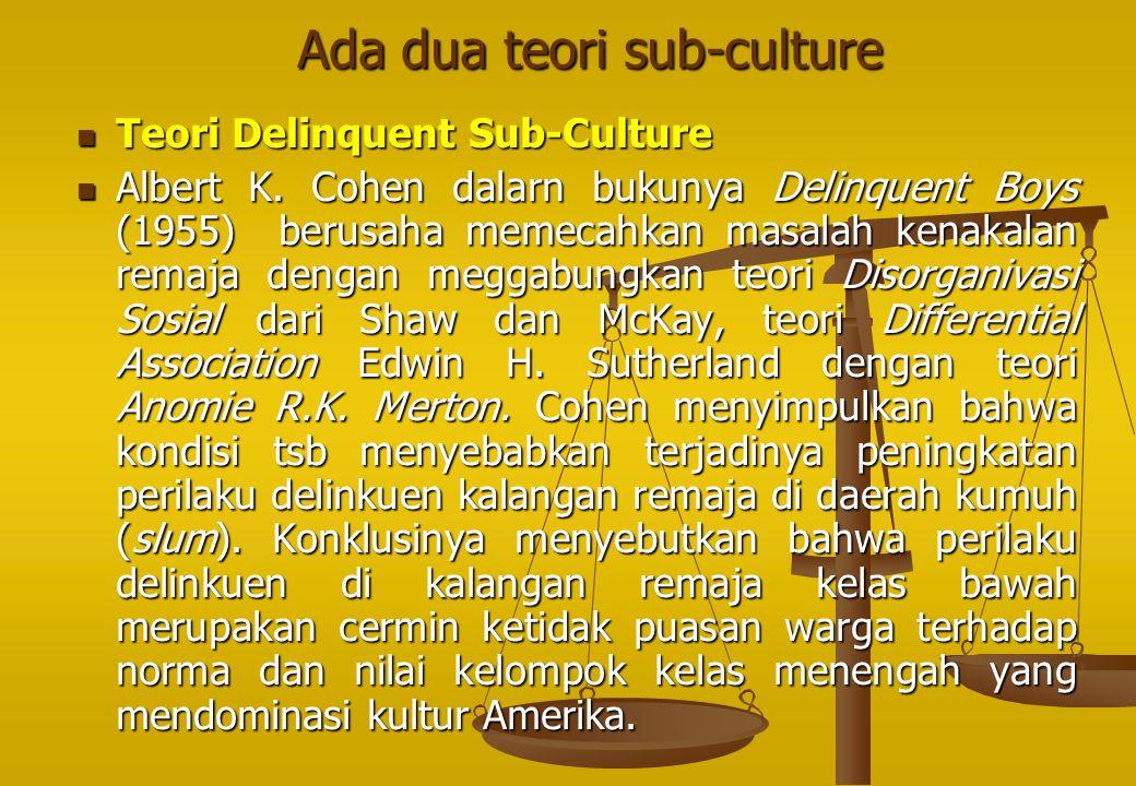 Ada dua teori sub-culture