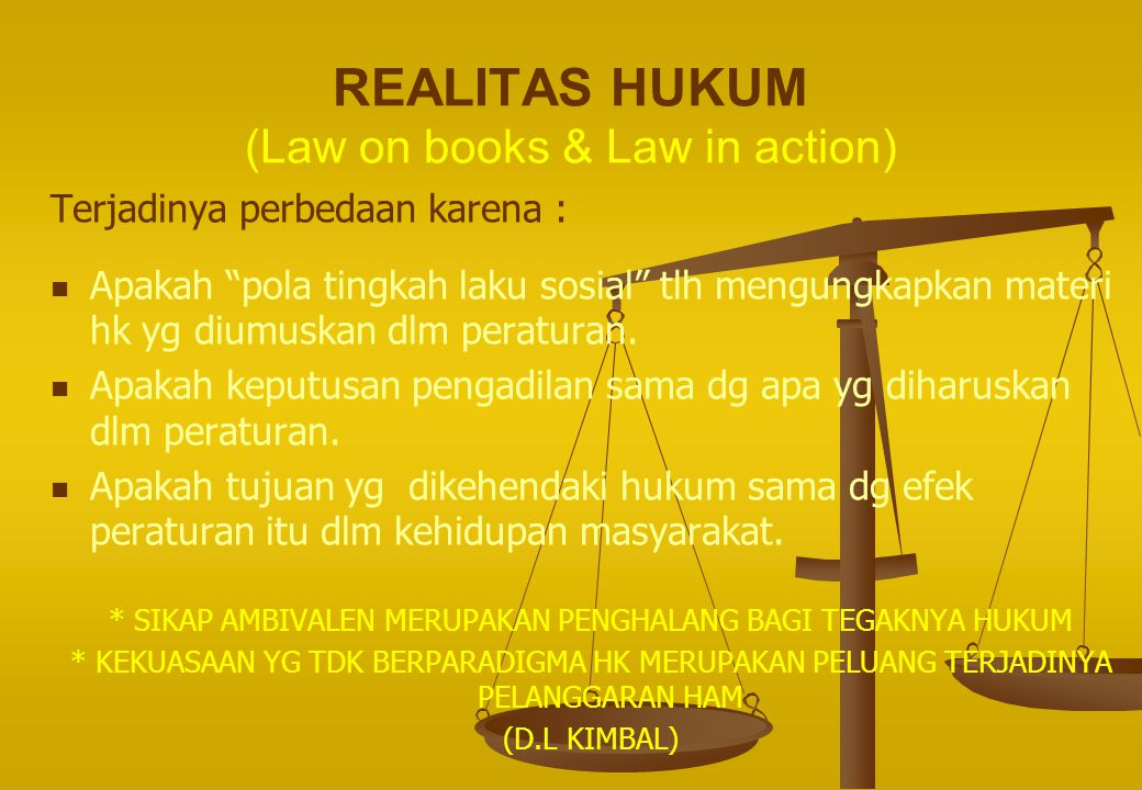 REALITAS HUKUM (Law on books & Law in action)
