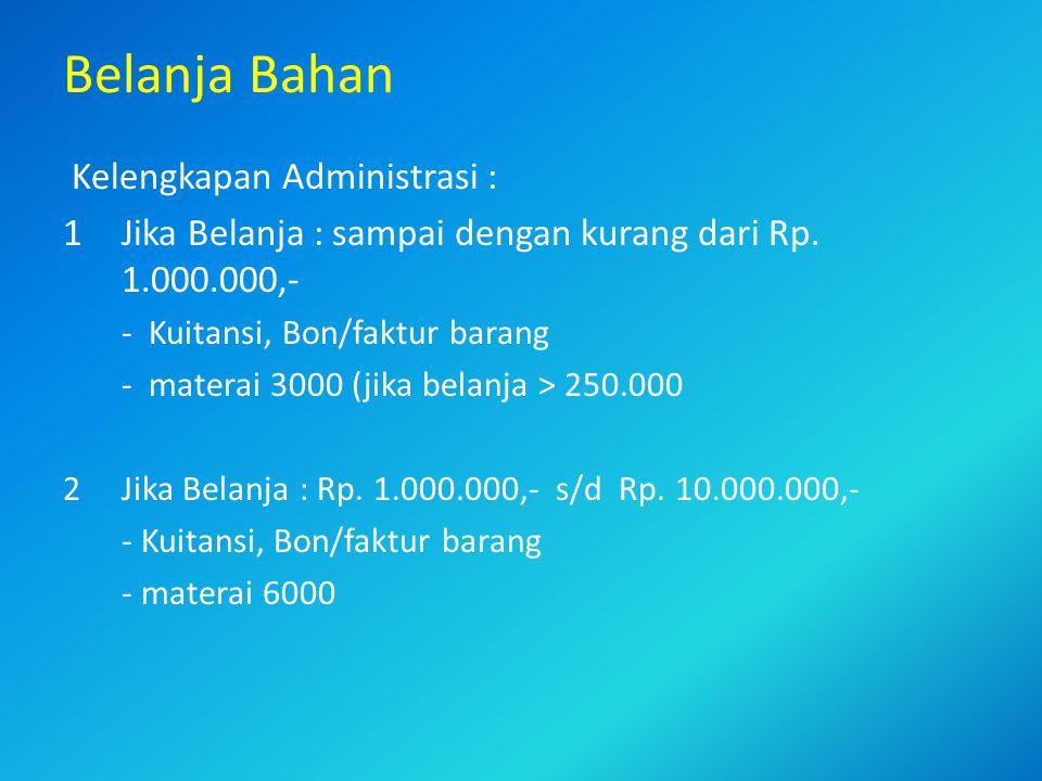 Belanja Bahan Kelengkapan Administrasi :