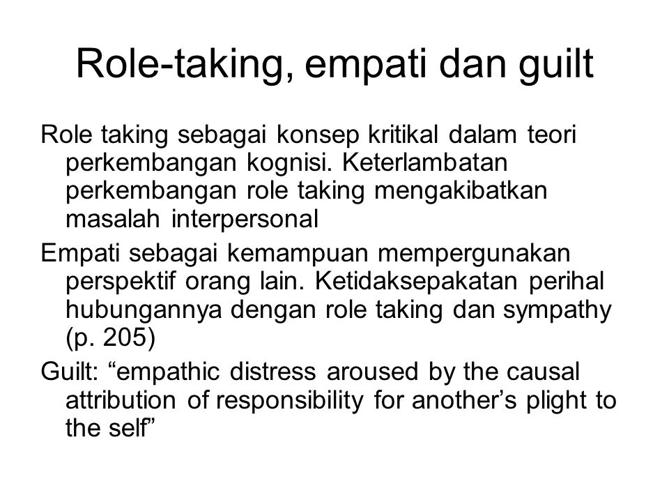 Role-taking, empati dan guilt
