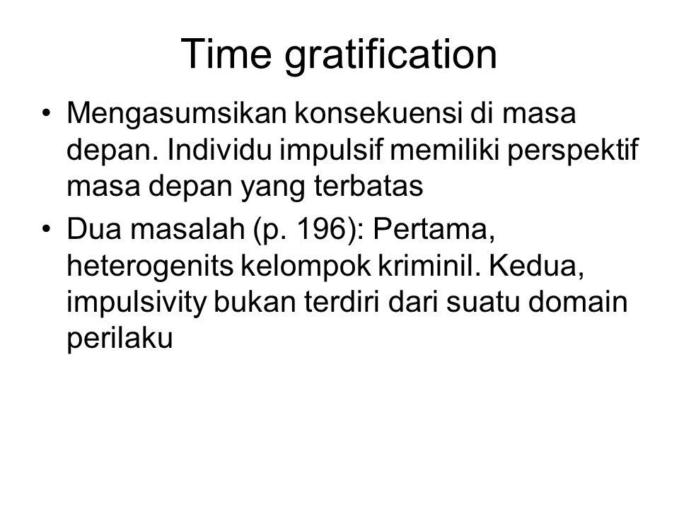 Time gratification Mengasumsikan konsekuensi di masa depan. Individu impulsif memiliki perspektif masa depan yang terbatas.