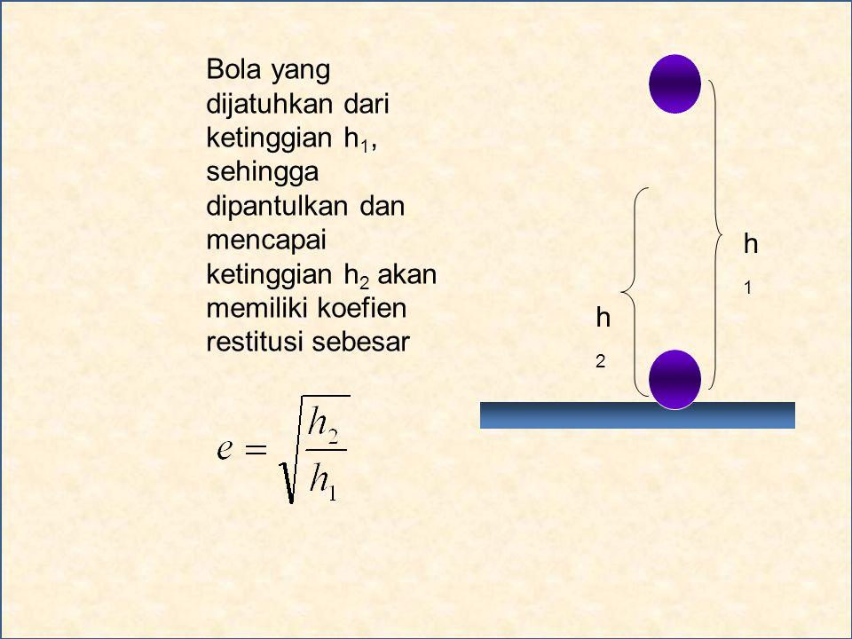 Bola yang dijatuhkan dari ketinggian h1, sehingga dipantulkan dan mencapai ketinggian h2 akan memiliki koefien restitusi sebesar