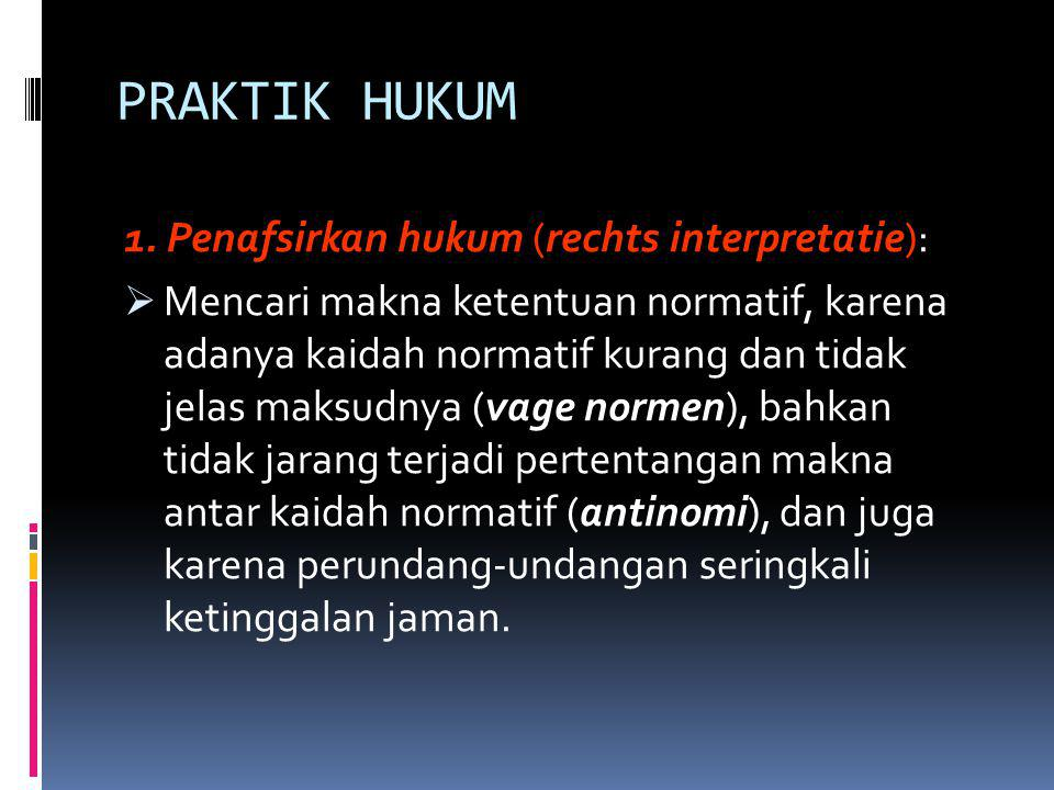 PRAKTIK HUKUM 1. Penafsirkan hukum (rechts interpretatie):
