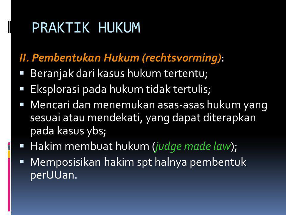 PRAKTIK HUKUM II. Pembentukan Hukum (rechtsvorming):