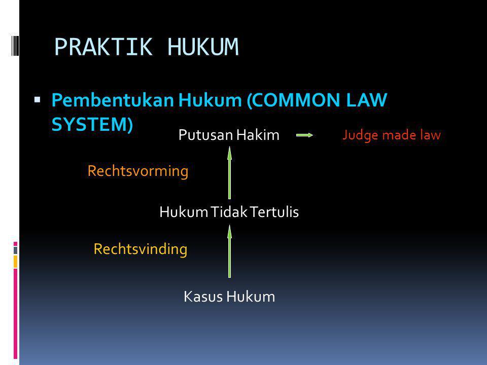 PRAKTIK HUKUM Pembentukan Hukum (COMMON LAW SYSTEM) Putusan Hakim