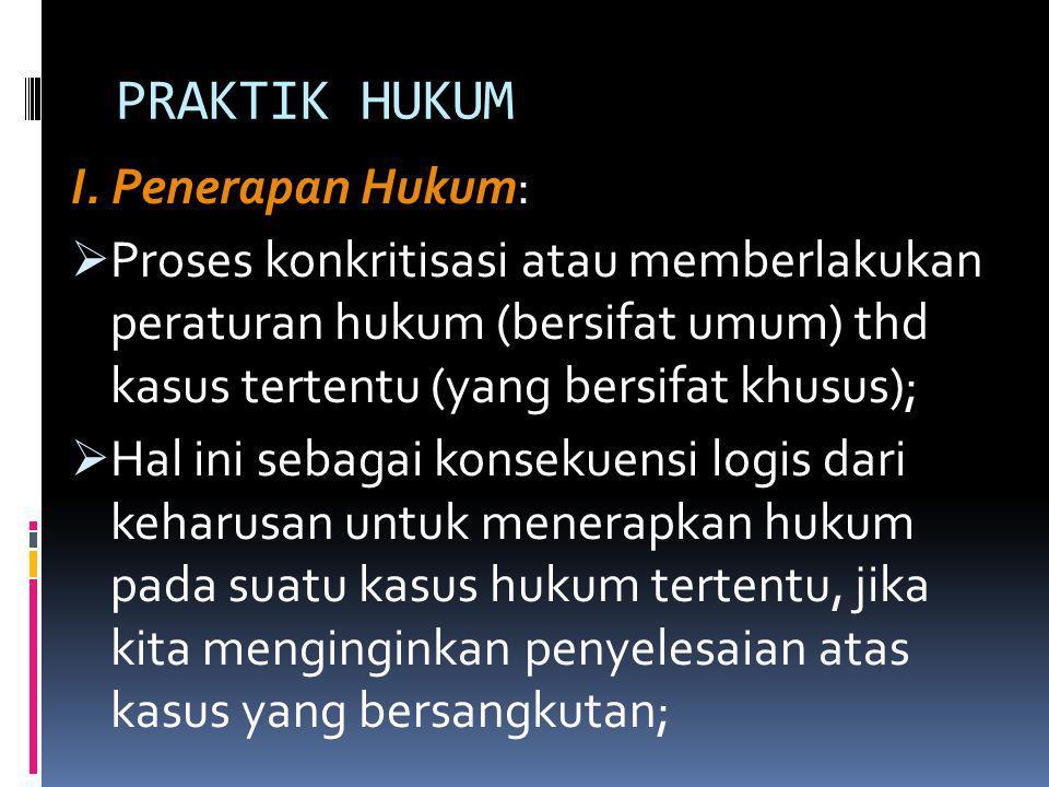 PRAKTIK HUKUM I. Penerapan Hukum:
