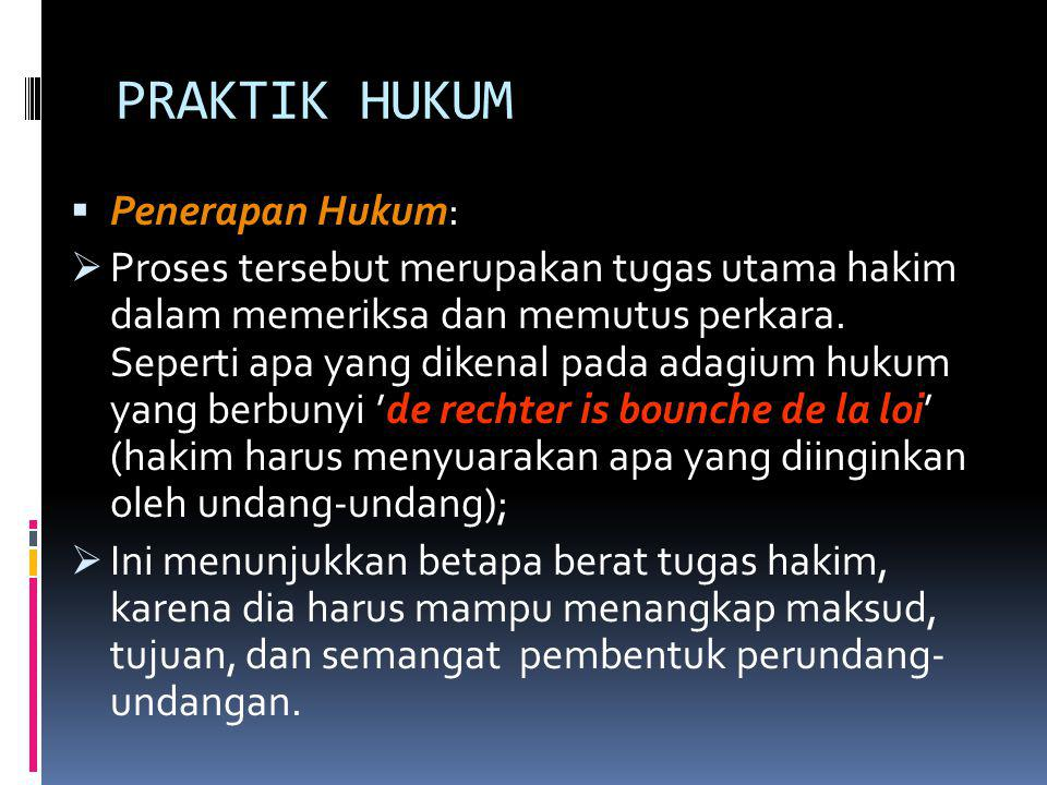 PRAKTIK HUKUM Penerapan Hukum: