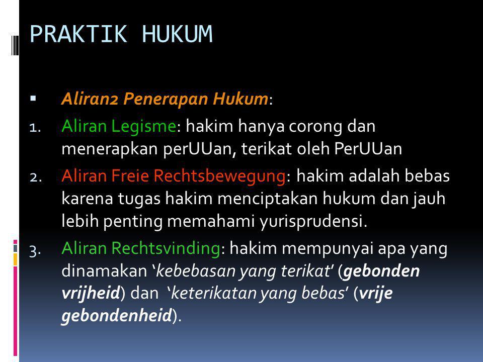 PRAKTIK HUKUM Aliran2 Penerapan Hukum: