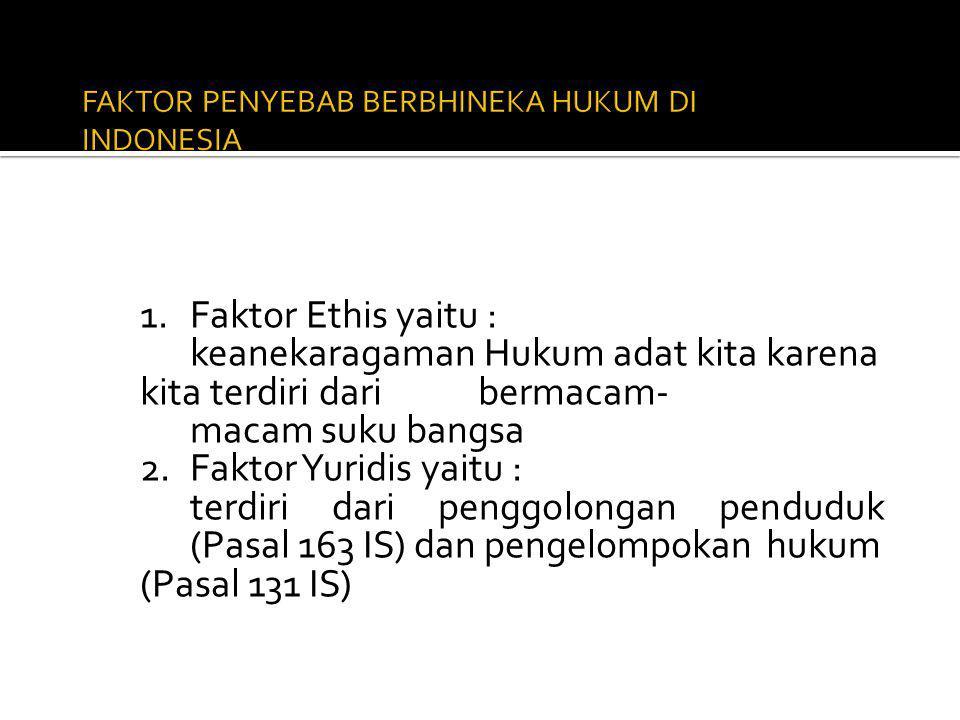 FAKTOR PENYEBAB BERBHINEKA HUKUM DI INDONESIA