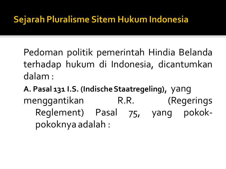 Sejarah Pluralisme Sitem Hukum Indonesia