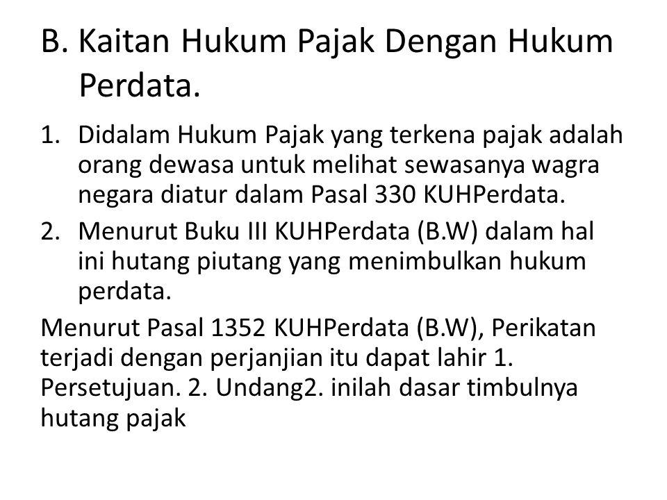 B. Kaitan Hukum Pajak Dengan Hukum Perdata.