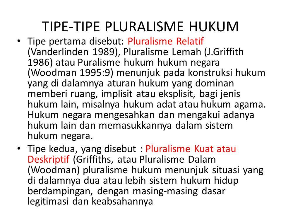TIPE-TIPE PLURALISME HUKUM