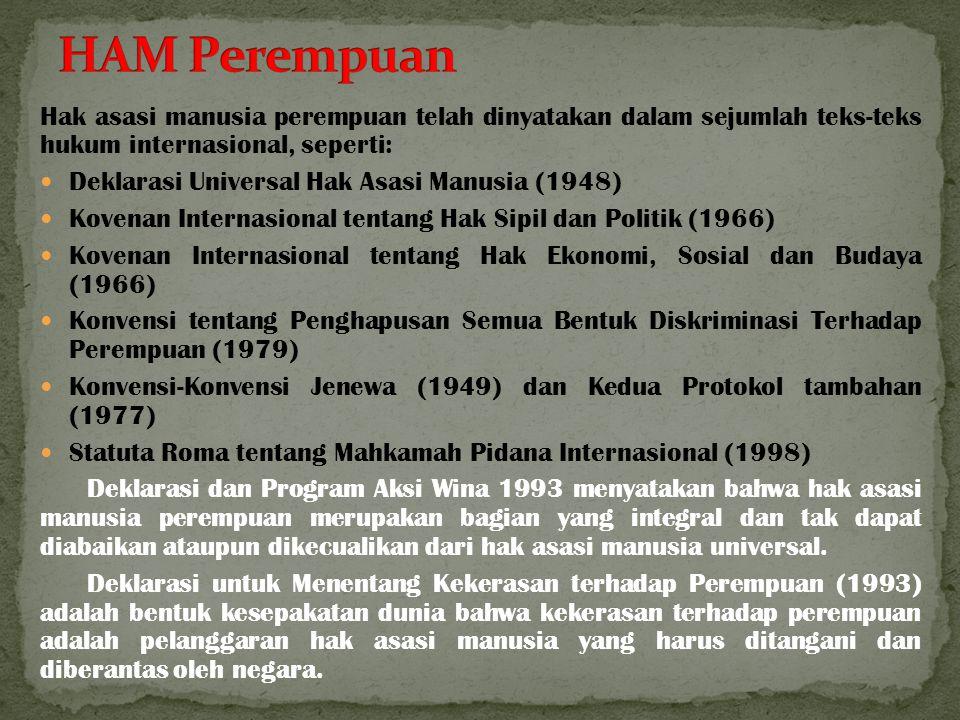 HAM Perempuan Hak asasi manusia perempuan telah dinyatakan dalam sejumlah teks-teks hukum internasional, seperti: