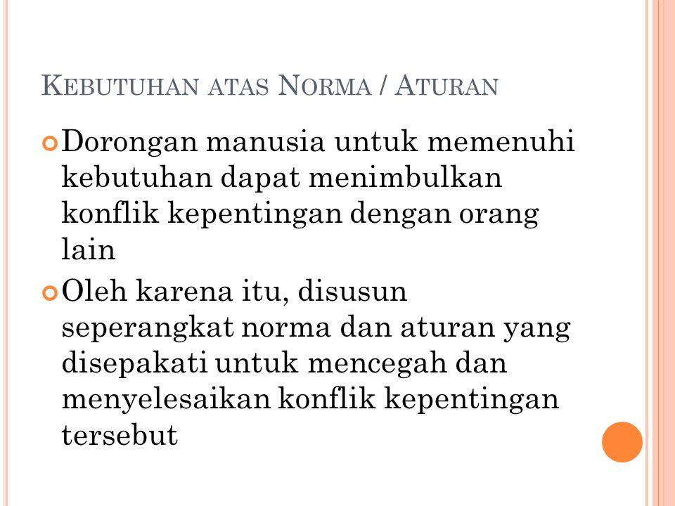 Kebutuhan atas Norma / Aturan