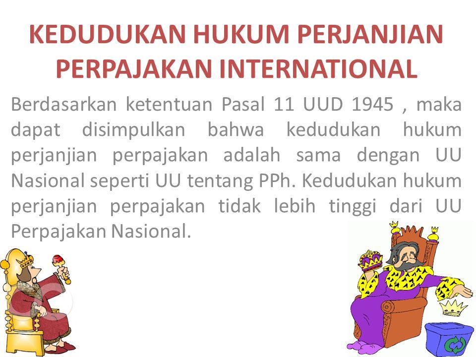KEDUDUKAN HUKUM PERJANJIAN PERPAJAKAN INTERNATIONAL