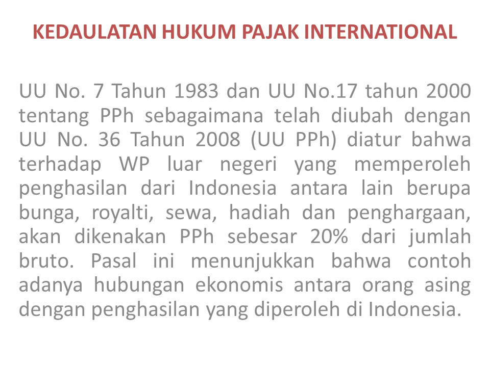 KEDAULATAN HUKUM PAJAK INTERNATIONAL