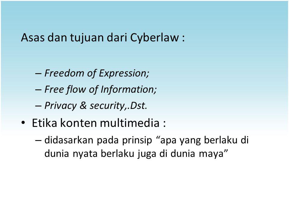 Asas dan tujuan dari Cyberlaw :
