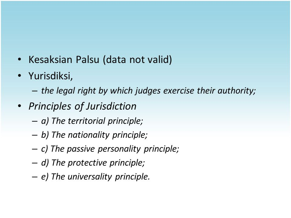 Kesaksian Palsu (data not valid) Yurisdiksi,
