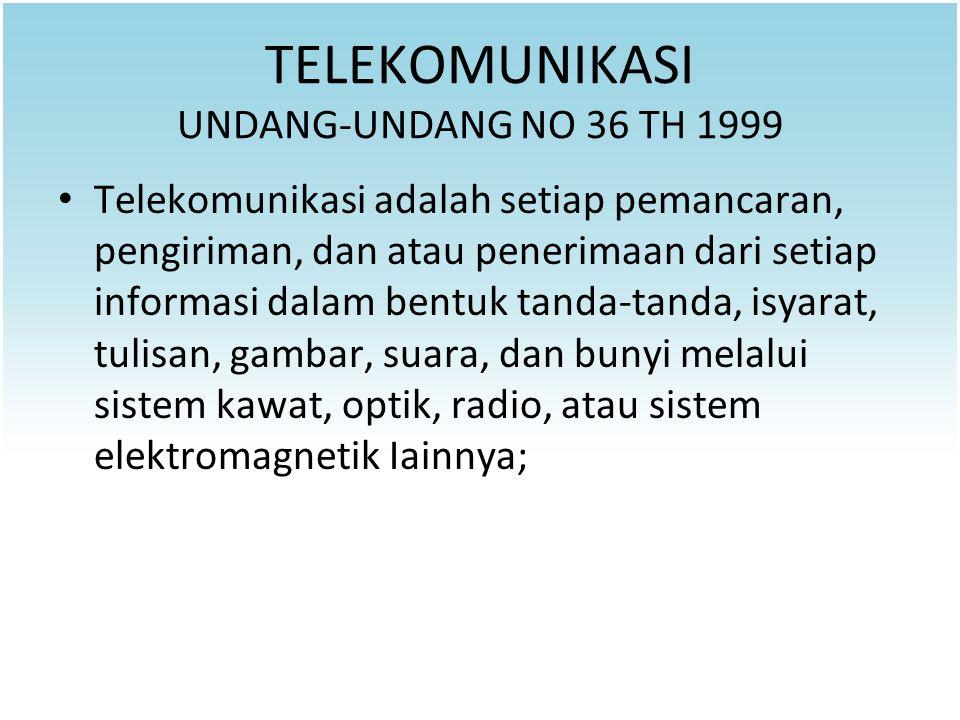 TELEKOMUNIKASI UNDANG-UNDANG NO 36 TH 1999