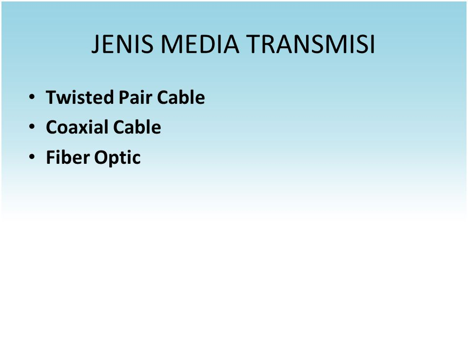 JENIS MEDIA TRANSMISI Twisted Pair Cable Coaxial Cable Fiber Optic