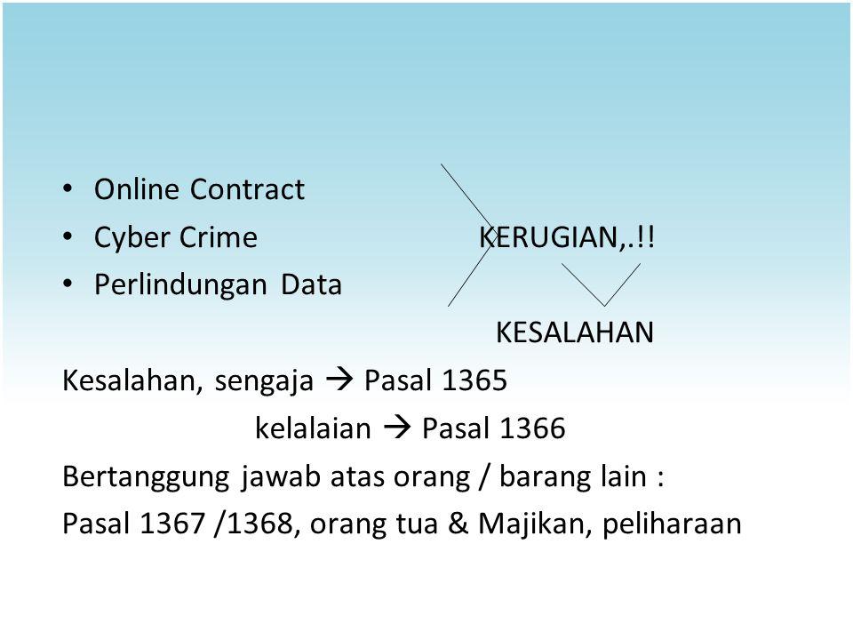 Online Contract Cyber Crime KERUGIAN,.!! Perlindungan Data. KESALAHAN. Kesalahan, sengaja  Pasal 1365.
