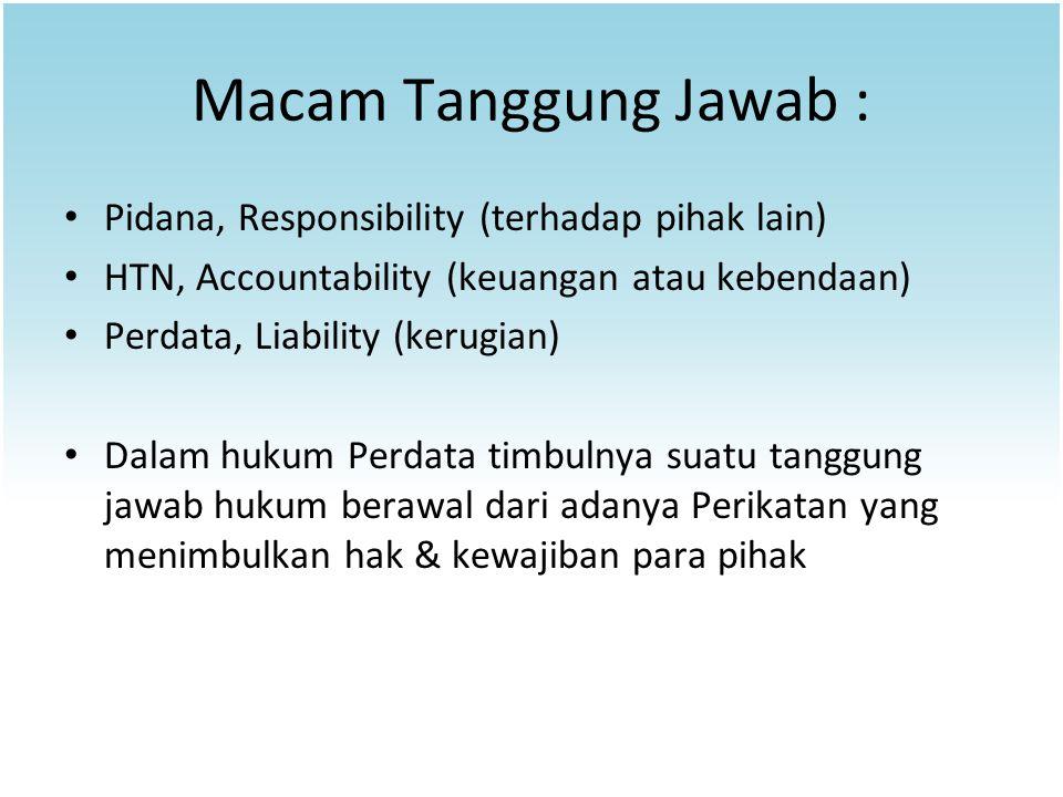 Macam Tanggung Jawab : Pidana, Responsibility (terhadap pihak lain)