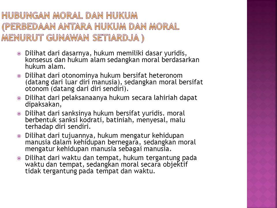 HUBUNGAN MORAL DAN HUKUM (Perbedaan antara hukum dan moral menurut Gunawan Setiardja )