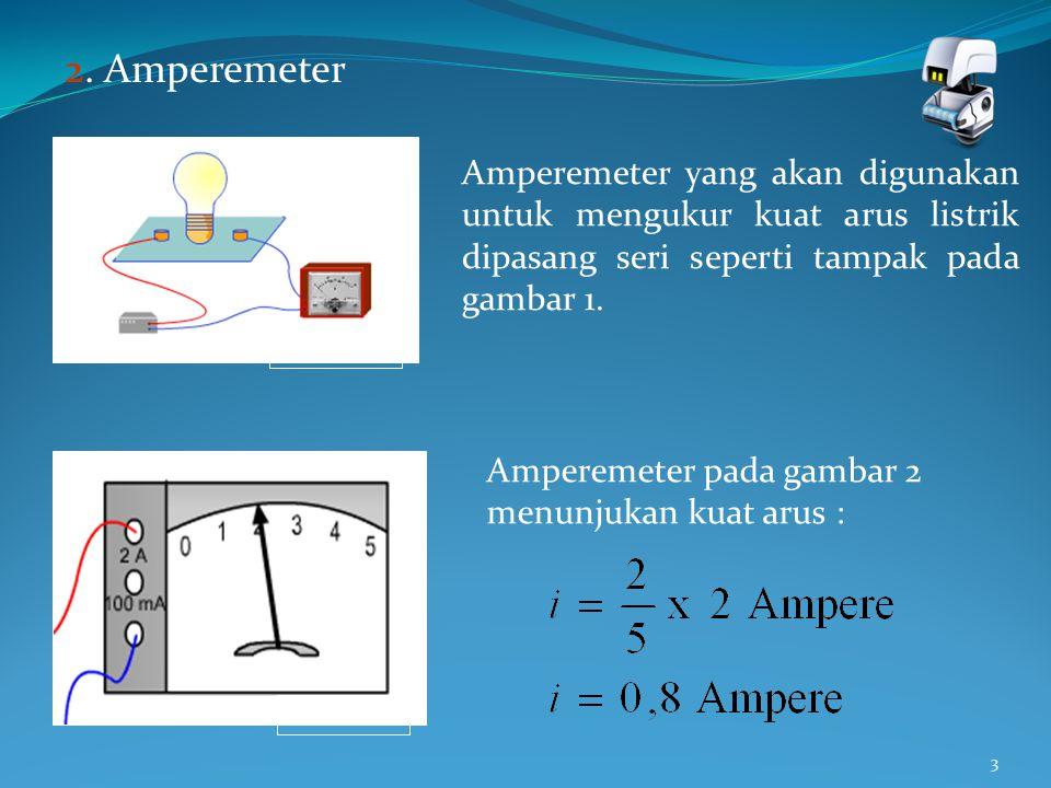 2. Amperemeter Gambar 1. Amperemeter yang akan digunakan untuk mengukur kuat arus listrik dipasang seri seperti tampak pada gambar 1.