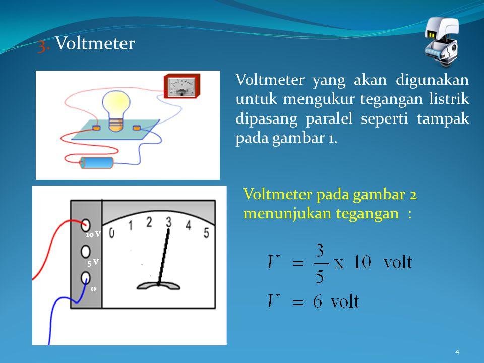 3. Voltmeter Voltmeter yang akan digunakan untuk mengukur tegangan listrik dipasang paralel seperti tampak pada gambar 1.