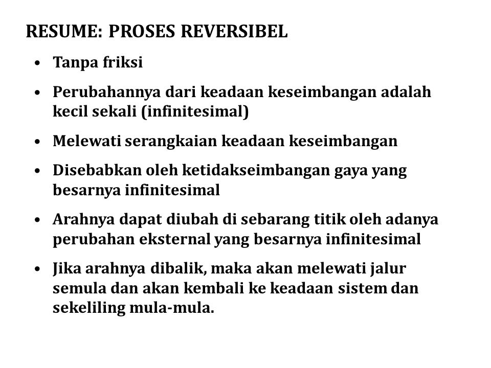 RESUME: PROSES REVERSIBEL