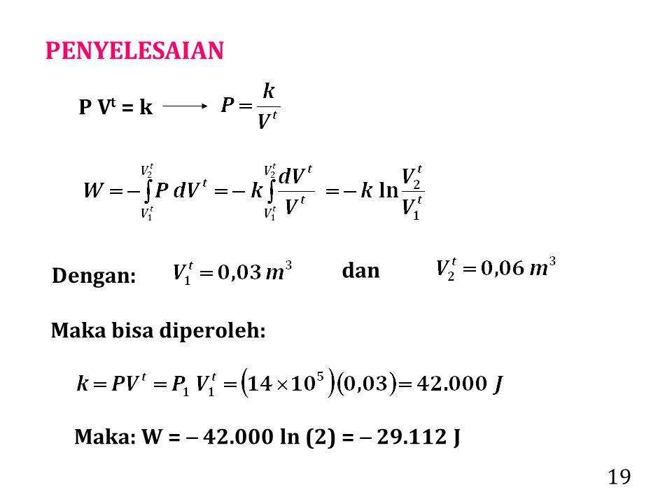 PENYELESAIAN P Vt = k dan Dengan: Maka bisa diperoleh: