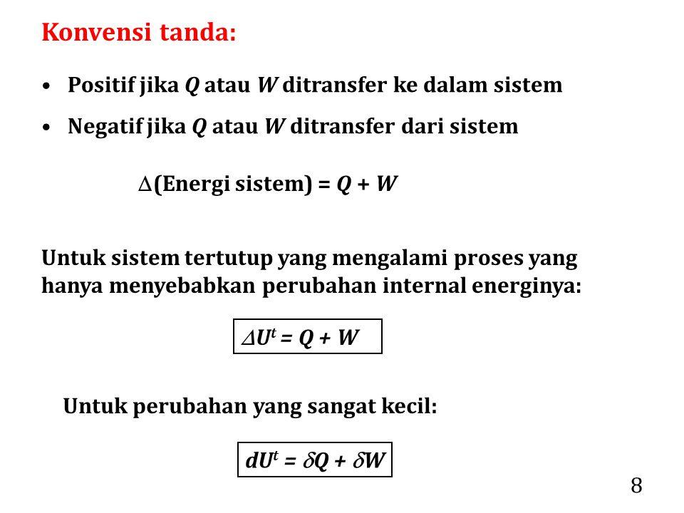 Konvensi tanda: Positif jika Q atau W ditransfer ke dalam sistem