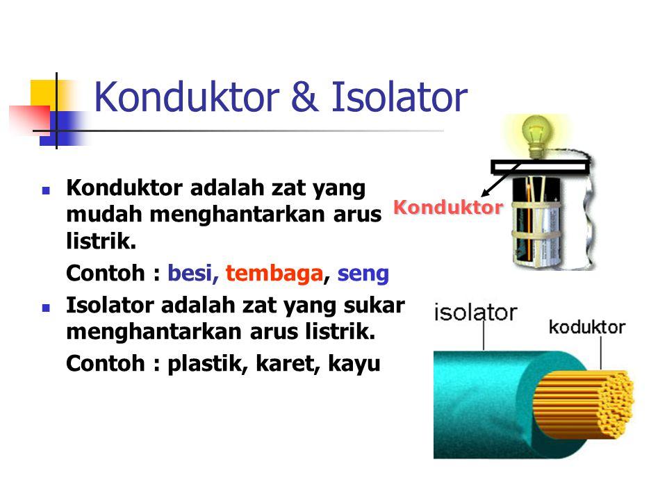 Konduktor & Isolator Konduktor adalah zat yang mudah menghantarkan arus listrik. Contoh : besi, tembaga, seng.