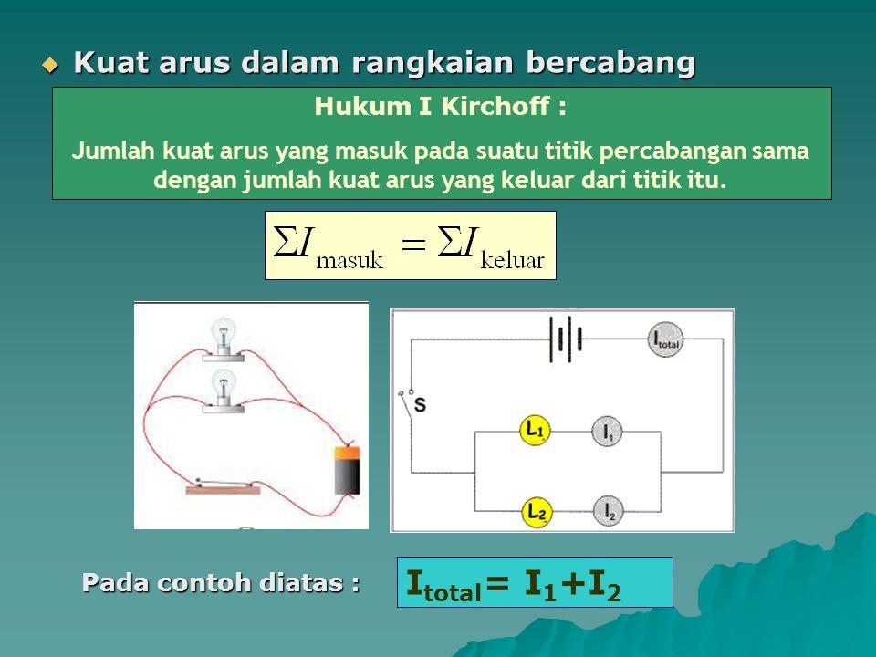 Itotal= I1+I2 Kuat arus dalam rangkaian bercabang Hukum I Kirchoff :