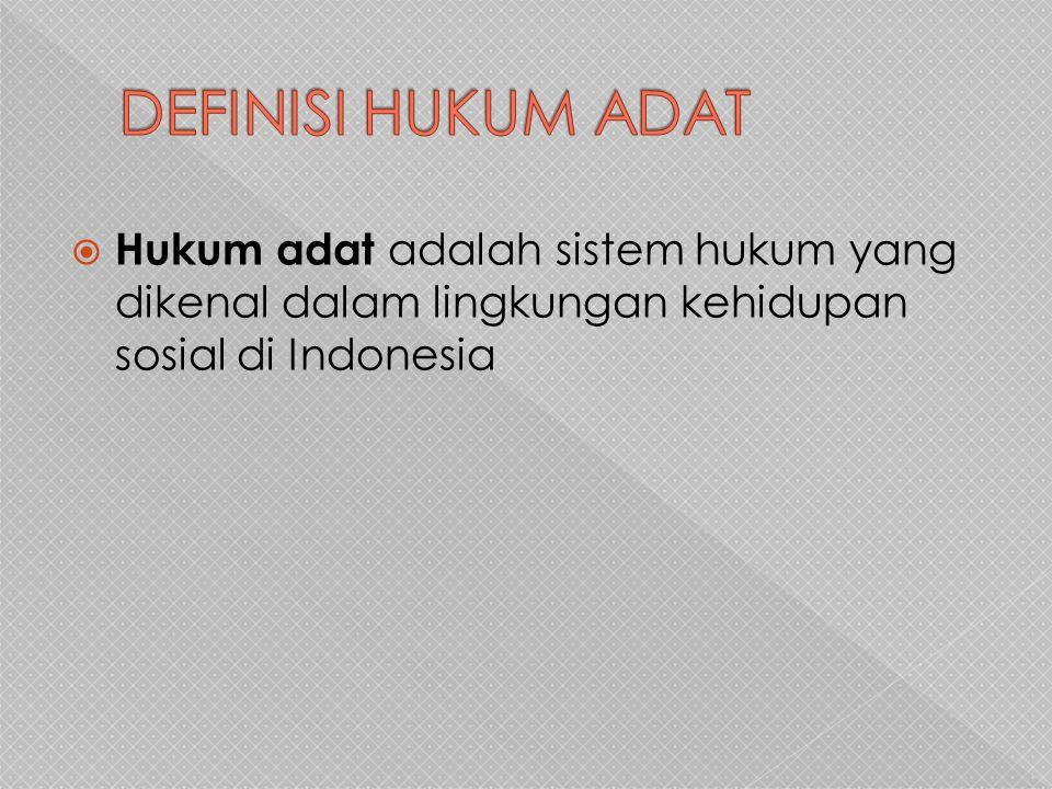 DEFINISI HUKUM ADAT Hukum adat adalah sistem hukum yang dikenal dalam lingkungan kehidupan sosial di Indonesia.