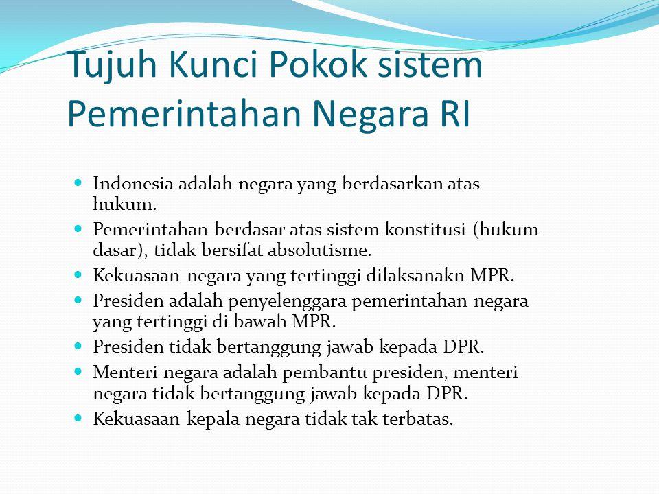 Tujuh Kunci Pokok sistem Pemerintahan Negara RI