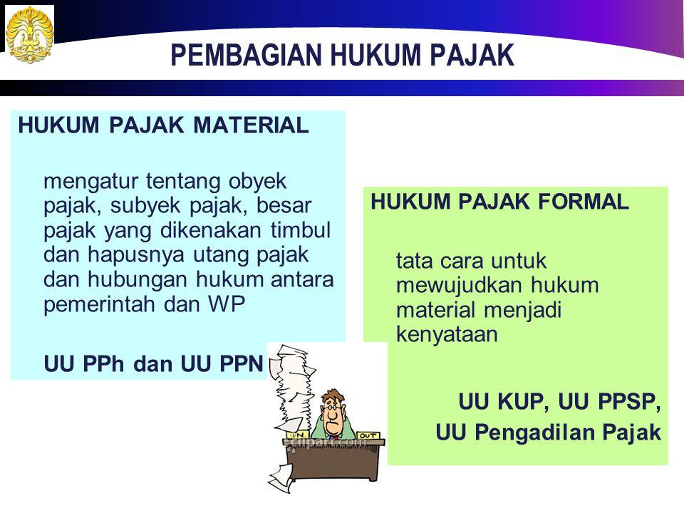 PEMBAGIAN HUKUM PAJAK HUKUM PAJAK MATERIAL UU PPh dan UU PPN