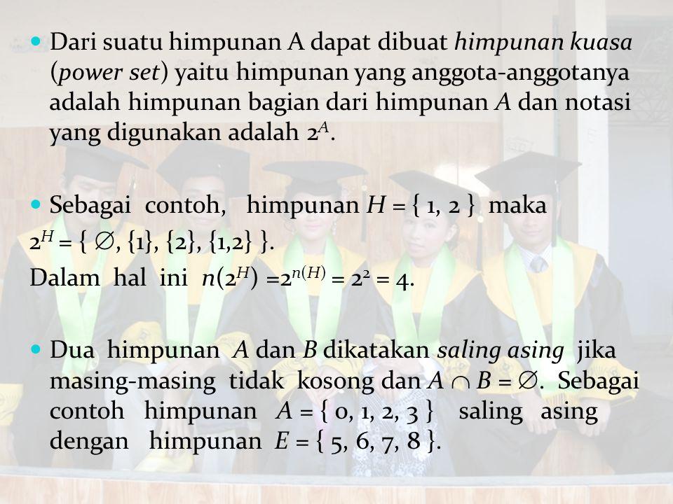 Dari suatu himpunan A dapat dibuat himpunan kuasa (power set) yaitu himpunan yang anggota-anggotanya adalah himpunan bagian dari himpunan A dan notasi yang digunakan adalah 2A.