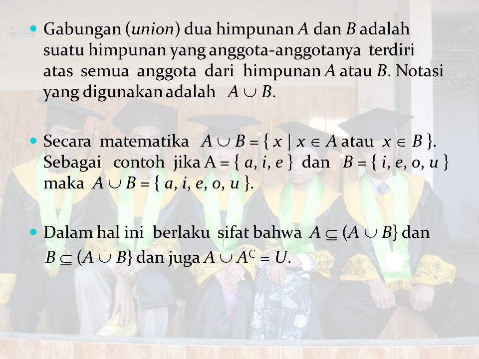 Gabungan (union) dua himpunan A dan B adalah suatu himpunan yang anggota-anggotanya terdiri atas semua anggota dari himpunan A atau B. Notasi yang digunakan adalah A  B.