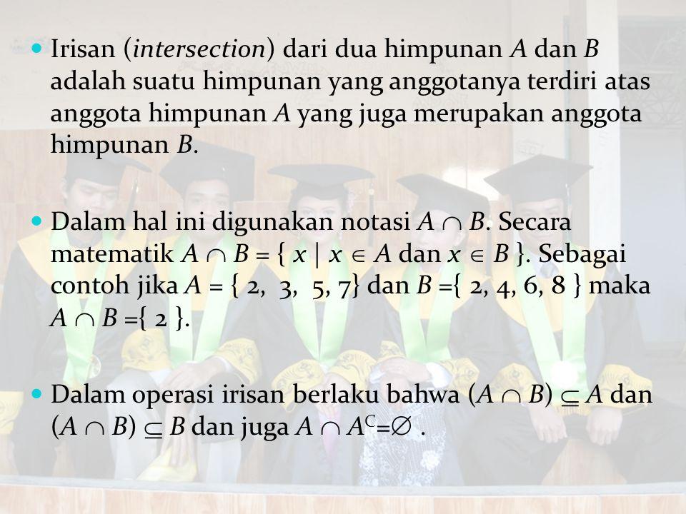 Irisan (intersection) dari dua himpunan A dan B adalah suatu himpunan yang anggotanya terdiri atas anggota himpunan A yang juga merupakan anggota himpunan B.