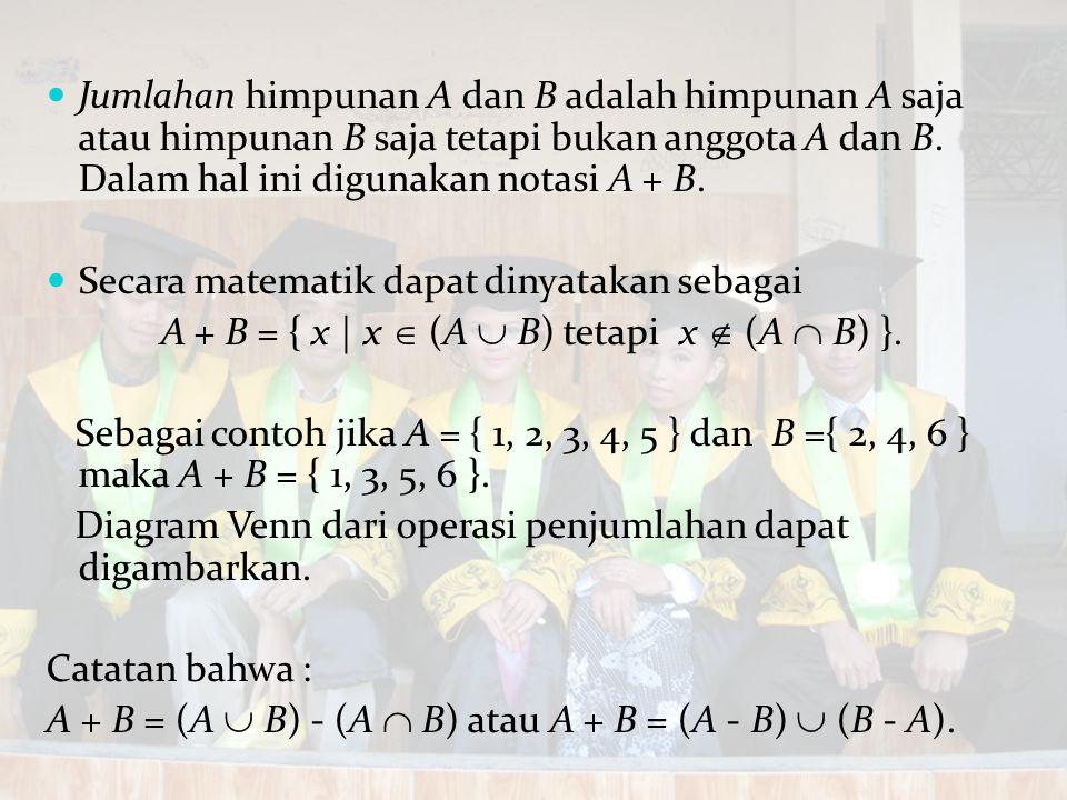 A + B = { x | x  (A  B) tetapi x  (A  B) }.