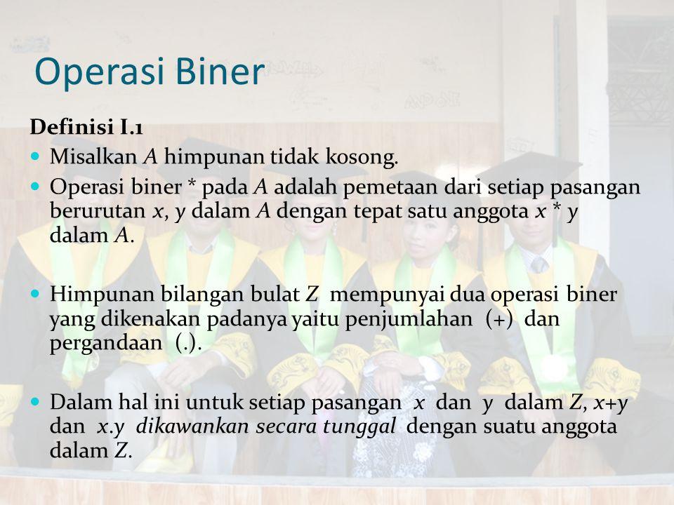 Operasi Biner Definisi I.1 Misalkan A himpunan tidak kosong.