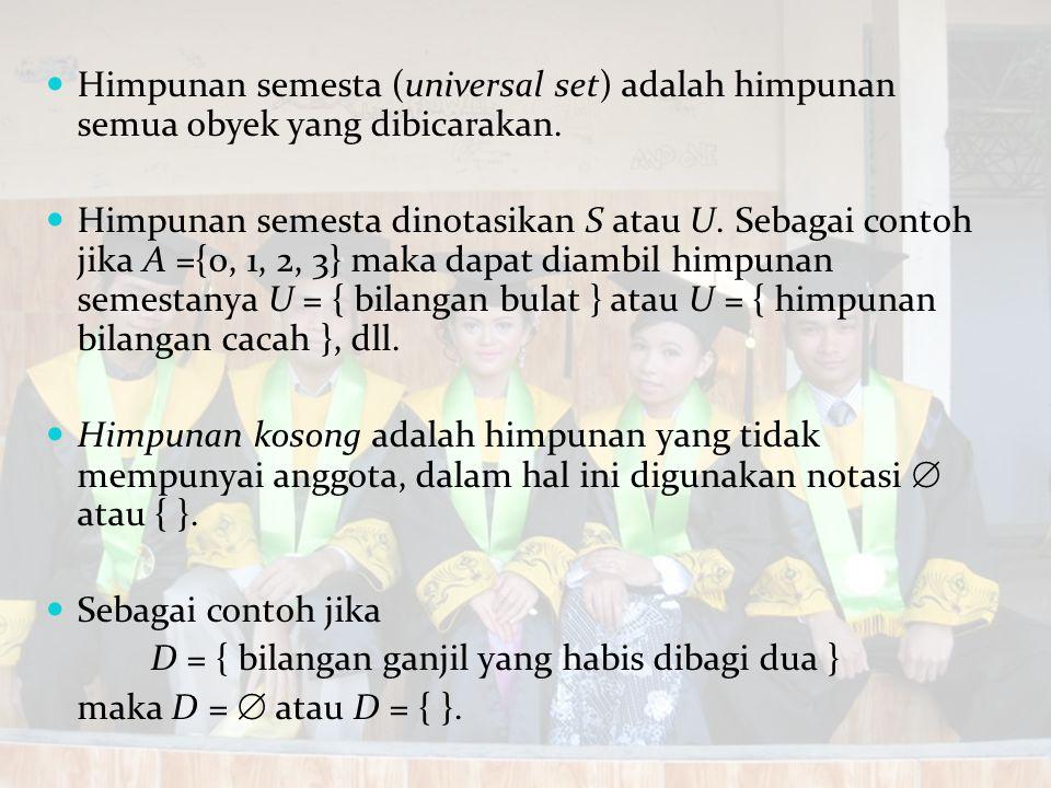 Himpunan semesta (universal set) adalah himpunan semua obyek yang dibicarakan.