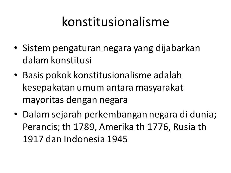 konstitusionalisme Sistem pengaturan negara yang dijabarkan dalam konstitusi.